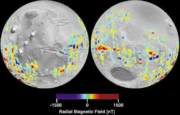Участки действия магнитного поля у Марса