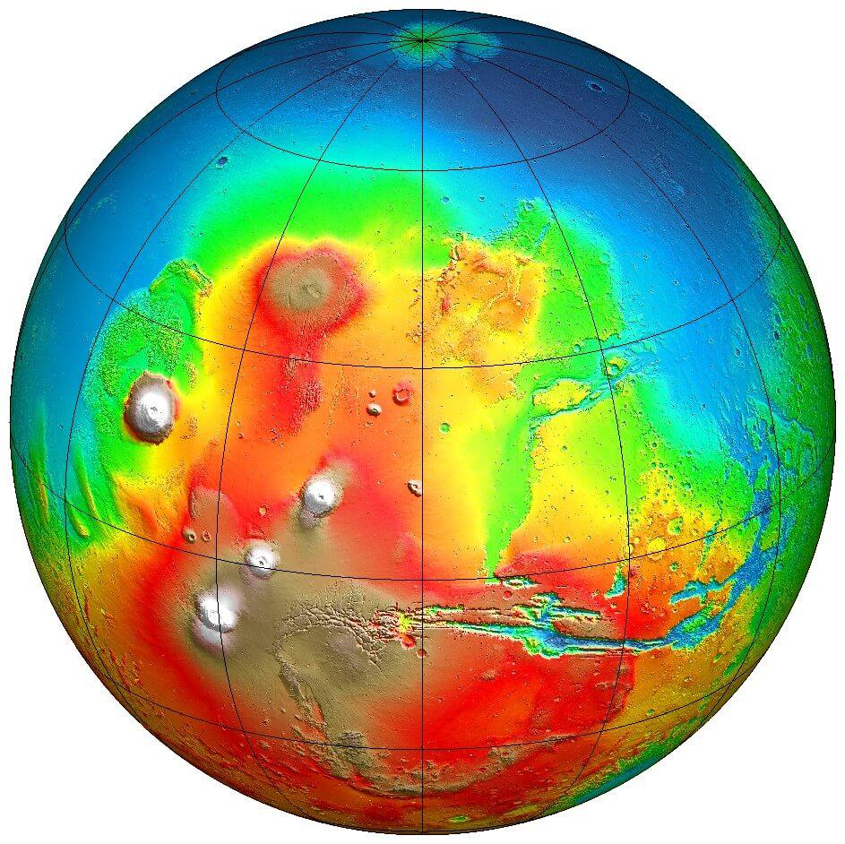 Карта поверхности Марса